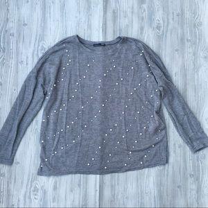 Zara pearl beaded grey sweater